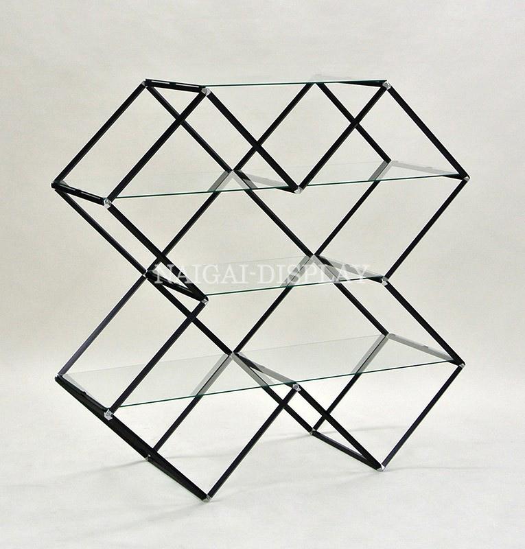 ビボガラス棚X型4段(ブラック)