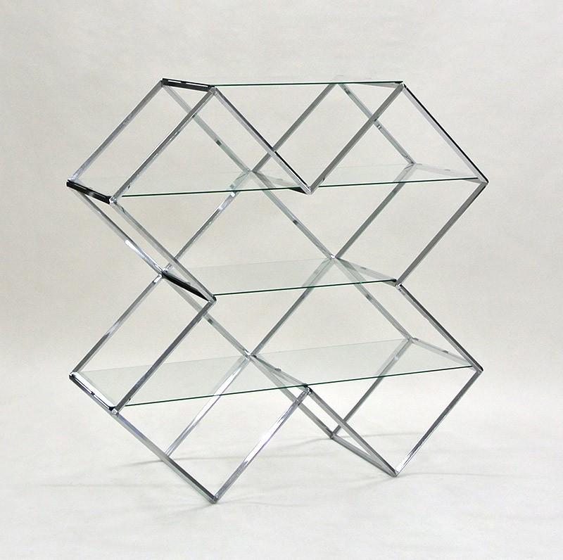 ビボガラス棚X型4段(クローム)