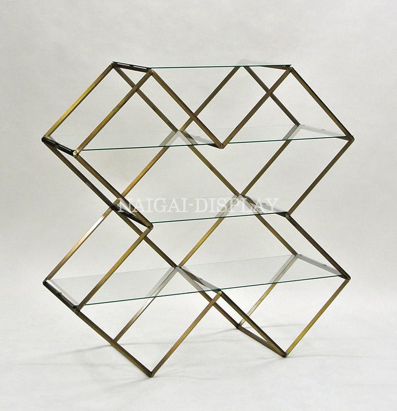 ビボガラス棚X型4段(古美色)