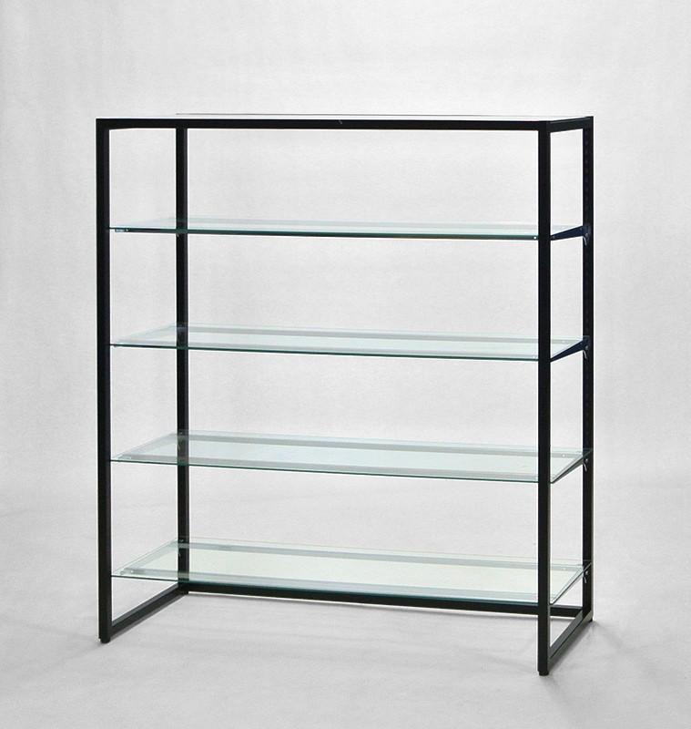 フレーム1350(黒)ガラス棚4段