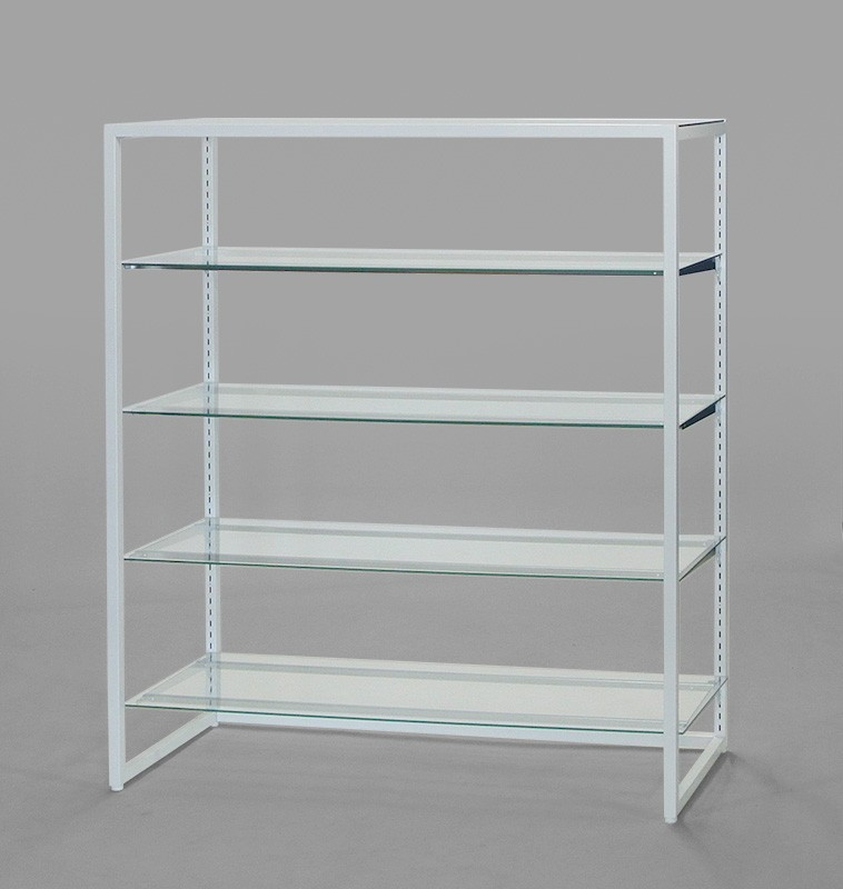 フレーム1350(白)ガラス棚4段
