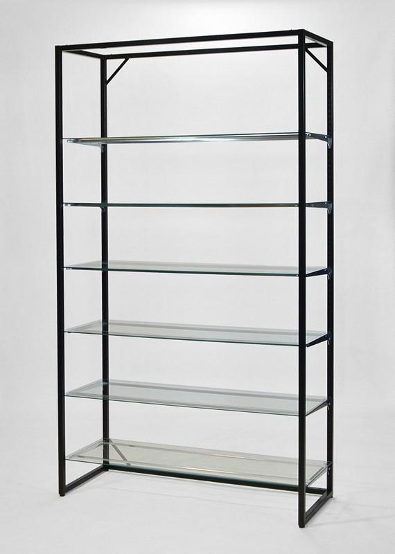 フレーム2100(黒)ガラス棚6段
