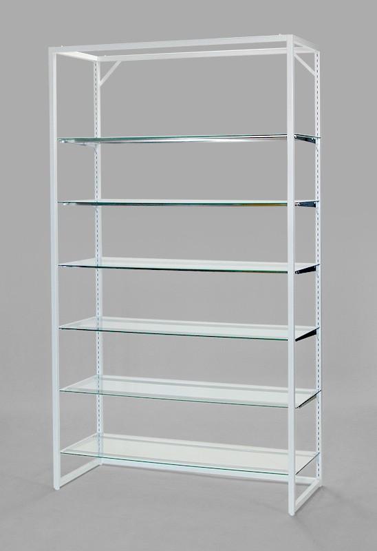 フレーム2100(白)ガラス棚6段